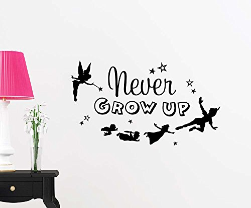 Never grow up cute fairy playroom sticker nursery vinyl saying lettering wall art inspirational sign wall quote decor by  Simple Expressions Arts