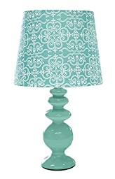 Urban Shop Porcelain Lamp with Paris Lamp Shade with CFL Bulb, Aqua