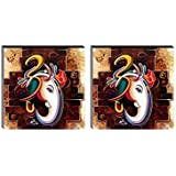 SAF 6MM MDF Ganesha Religious UV Textured Painting (Synthetic, 12 inch x 12 inch) Pack of 2