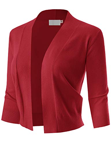 MAYSIX APPAREL Womens 3/4 Sleeve Solid Open Bolero Cropped Cardigan RED L