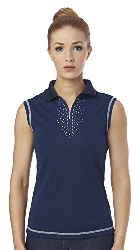 Just Togs Jessica de mujer sin mangas polo Tops azul marino
