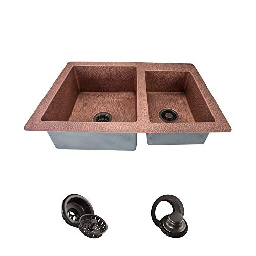 901 Offset Double Bowl Copper Sink, Strainer and Flange ()