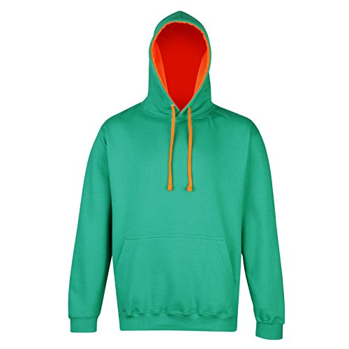 AWDis - Sudadera con capucha - para mujer Kelly Green/ Electric Orange