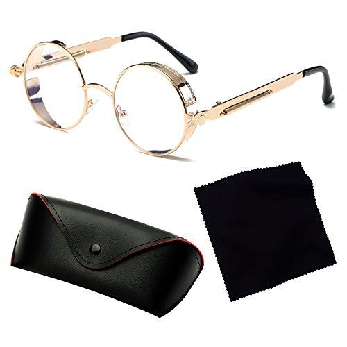 de Gafas Shades Ronda Recubrimiento Gafas Steampunk sol Retro Vintage Lentes Metal Mxssi de Mujer sol C12 Gafas Hombres xWR0wa