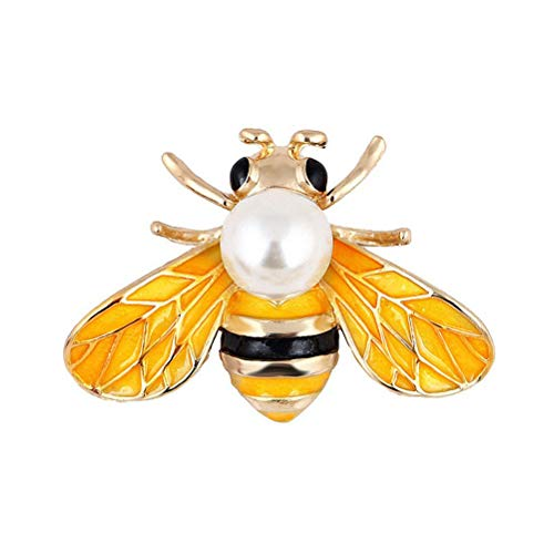 Yellow Gold Cameo Pin - Wedding Brooch pins Women Bouquet Rhinestone bee Rose Flower Butterfly Pearl (MI Gold Bee Pearl Yellow)