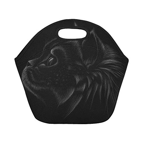 Insulated Neoprene Lunch Bag Logo Cat Tattoo Tshirt Design Large Size Reusable Thermal Thick Lunch Tote Bags Lunch Boxes For Outdoor Work Office -