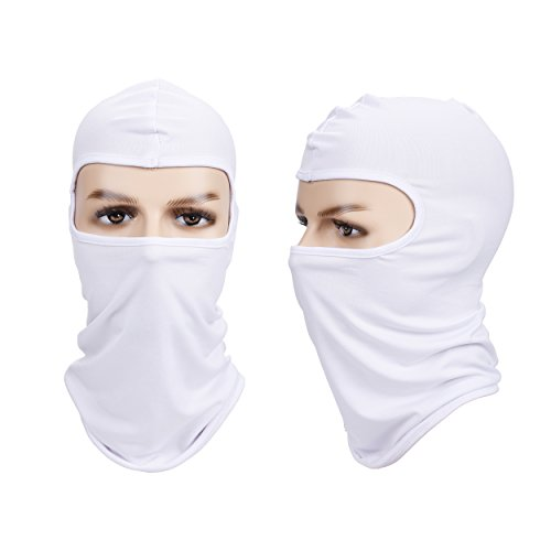 Balaclava Face Mask, Lucco Bike Motorcycle Helmet Neck Winter Hat Windproof Face Mask Full Face Ski Mask Driving Sport Mask-White