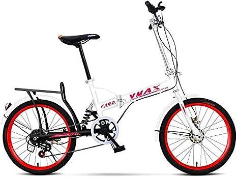 Bicicleta 20 Pulgadas de Bicicletas Plegables for niños Ultra luz portátil Adultos Hombres y Mujeres Amortiguador de Estudiantes de Bicicletas (Color : White): Amazon.es: Deportes y aire libre