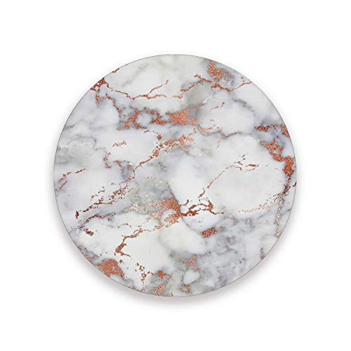 """Rose Gold And Grey Marble Texture Coasters for Drinks 3.9"""" Ceramic Drink Coaster Housewarming Gifts for New Home Decor Save Your Furniture from Stains Marks and Scratches Set of 2"""