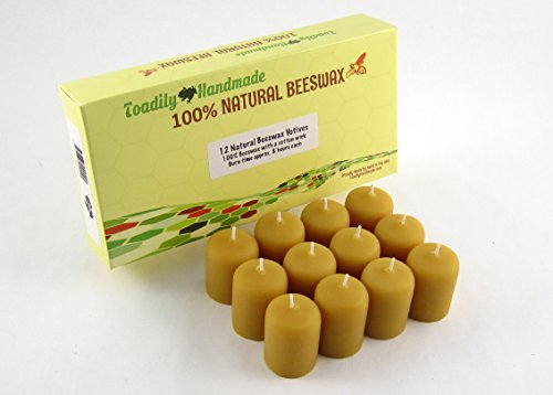 Attractive Gift Box (One dozen (12) Hand Poured Solid Beeswax Votive Candles in Natural Wax - 100% Beeswax Candles by Toadily Handmade - Now Packaged In An Attractive Gift Box! - Made in the USA)