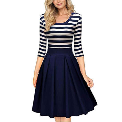Besde Womens Ladies Navy Style Stripe Scoop Neck Sleeve Casual Swing Dress (XL, Blue)