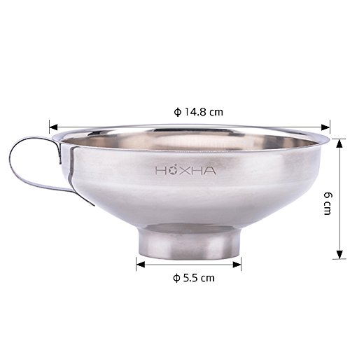 Stainless Steel Canning Funnel, Wide Mouth Jar Funnel With Handle for Wide and Regular Mouth Jars, Food Grade Metal Jam Funnel, 5.5-Inch Large Kitchen Funnels by HOXHA by HOXHA (Image #1)