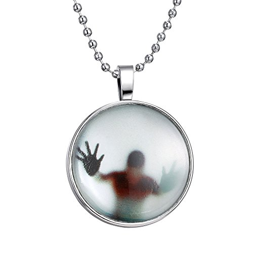 [FM42 Glow in the Dark Figure Shadow Round Pendant Necklace with 23.6