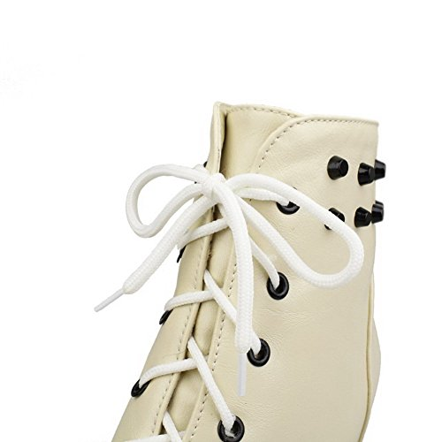 Amoonyfashion Donna Materiale Morbido Lace-up Tacco Vertice Tacco Alto Stivali Bassi, Beige, 38