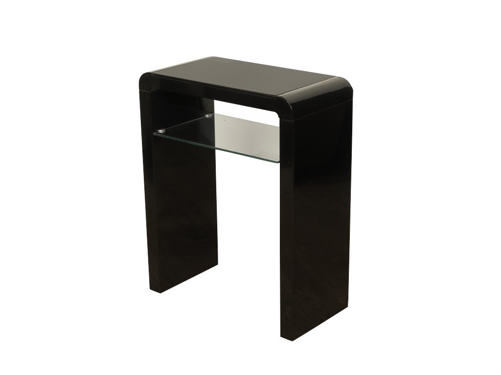 Atlanta Black Console Table With Shelf - Black Gloss Hall Table for Hallway with Glass Shelf - Small Console Hall Table Black - Hallway - Living Room - Bedroom Furniture THE ONE