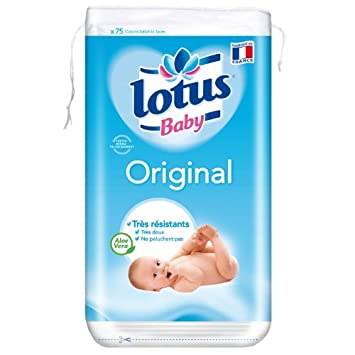 Lotus Baby Original Double-Sided Square Cotton Pads x 75 Set of 10