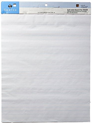 Sparco Self-stick Easel Pad, 1-Inch Ruled, 30 Sheet/PD, 25 x 30 Inches, 2/Count, White (Sticky Self Stick Easel Pads)