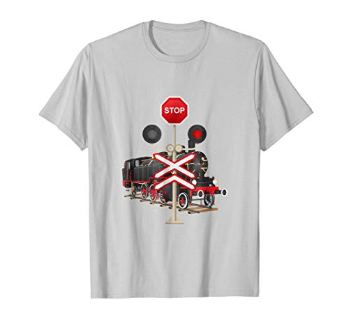 Train Railroad Tee Crossing Sign Lights Line Stop T-Shirt