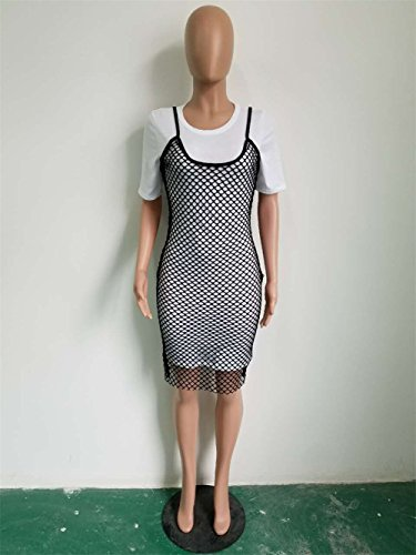 Short Party Women's 2PCs Outfit Seperate Club Picture Bandage Dress As Mesh Sleeve Bodycon ww8trfCqx