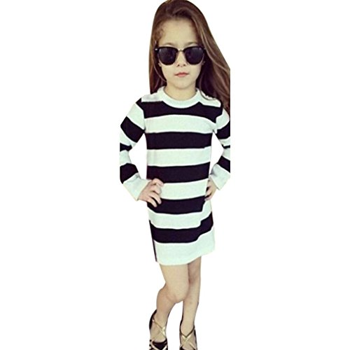 Gotd Kids Children Baby Gils Stripe Dresses Casual Sundress Clothes Outfits Long Sleeve Winter Clothing (2T(1-2Years), Black)