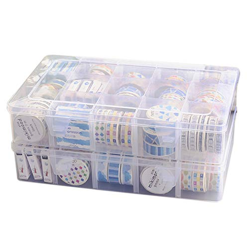 Plastic Jewelry Box Organizer Storage Container Adjustable Dividers 15 Compartments New Washi Tape Box Organizer Divider Closet Container Masking Desktop Tape DIY Sticker Roll Tape Holder