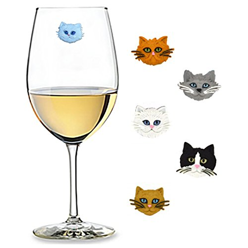 - Fuzzy Cat Wine Charms Set of 5 Magnetic Drink Markers - Fun Birthday, Hostess Gift Idea for Cat Lovers