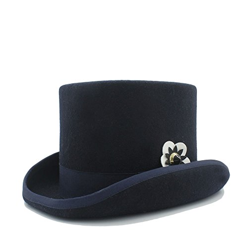 Las 3 Scsy De end color Flor Alto Mujeres 55cm Cuero Señora sombrero Size Sombrero High Del Mecánica La Elegante Jazz Con 4 Para HqafpHw