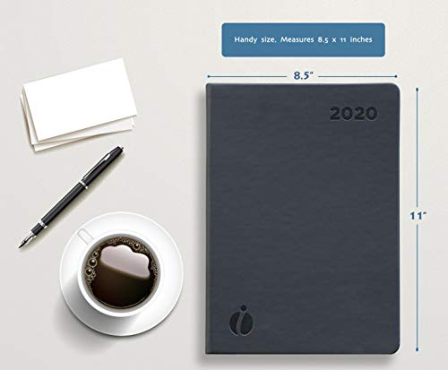 Hourly Planner 2020 - 24 Hour Planner - Weekly and Monthly Appointment Book 2020 - Hardcover, Japanese Design - Minimalist Annual Planner with Time Slots - 8.5x11