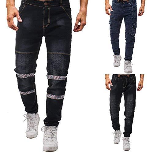 Blau Skinny Cargo Qk lannister Fashion Uomo Jeans Ragazzo Pantaloni Da Stretch Con Nen Motorcycle Denim Multi Retro tasca Pants Casual pHfpqw7
