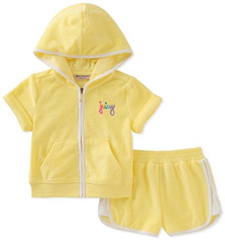Juicy Couture Big Girls' 2 Piece Hoodie & Short Set, Yellow, 8/10