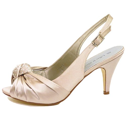 Womens Gold Satin Bridal Bride Ladies Bridesmaid Wedding Court Shoes Sizes 3-8 pppBe