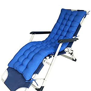 Wicker Chair Cushions Soft Thick Polyester Sanding Chaise Lounge Cushions with Ties, Patio Chaise Lounger Cushions for Garden Rocking Chair Patio Furniture Bench Sun Chair,RoyalBlue,125x48cm
