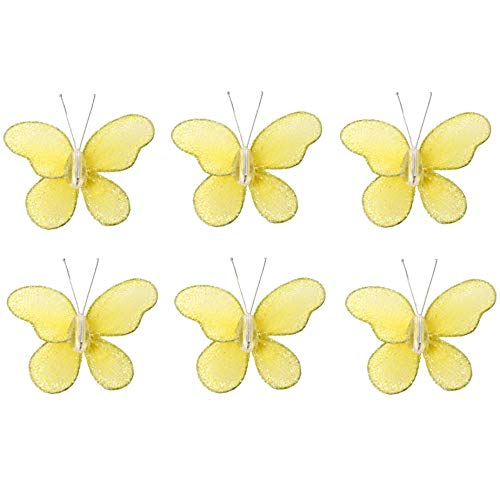 Butterfly Decor 2 Yellow Mini X-Small Glitter Nylon Mesh Butterflies 6 Piece Decorations Set Decorate Baby Nursery Bedroom Girls Room Wall Wedding Birthday Party Shower Crafts Scrapbooks Invitations