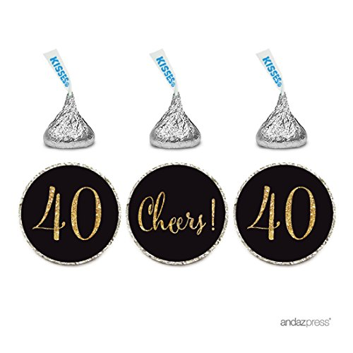 (Andaz Press Gold Glitter Print Chocolate Drop Labels Stickers, Cheers 40, Happy 40th Birthday, Anniversary, Reunion, Black, 216-Pack, Not Real Glitter, For Hershey's Kisses Party Favors)