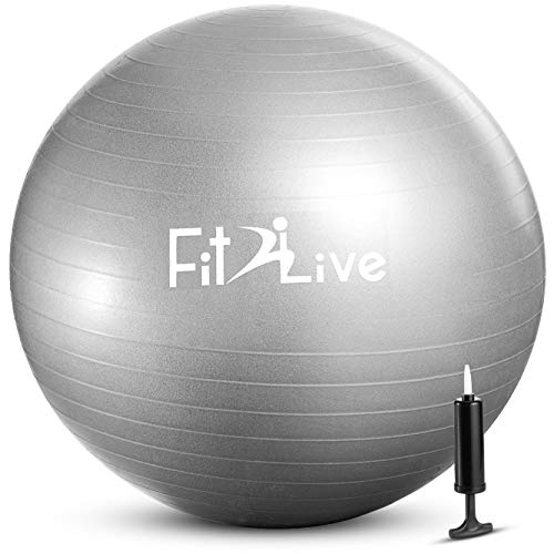 Fit2Live Exercise Ball for Yoga and Stability Training, Bundle with Air Pump – Pilates Balance Ball for Home Gym Workout…