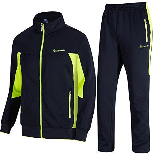 (Men's 2 Piece Jacket & Pants Slim Fit Jogging Track Suit (Blue fluorescent,2XL))
