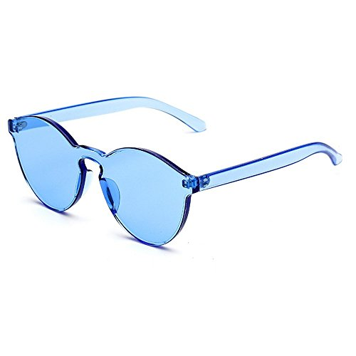 MINCL/FAshion Party Rimless One Piece pinky Clear Lens Color Sunglasses -yhl (blue, ca)