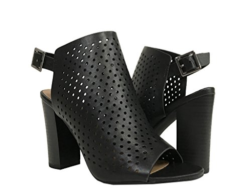 GALLERY! Womens Perforated Chunky Block Heel Sandals Black Leatherette 5bvXpq