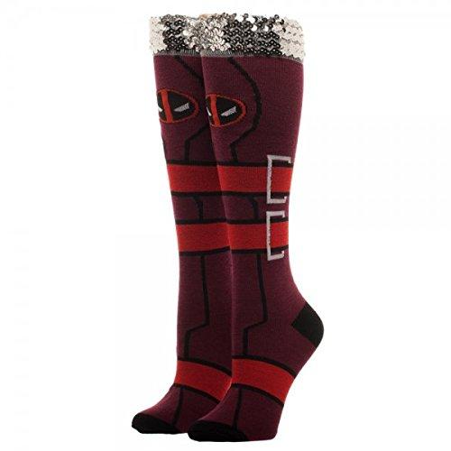 Marvel Comics Deadpool Sequin Cuff Knee High Socks