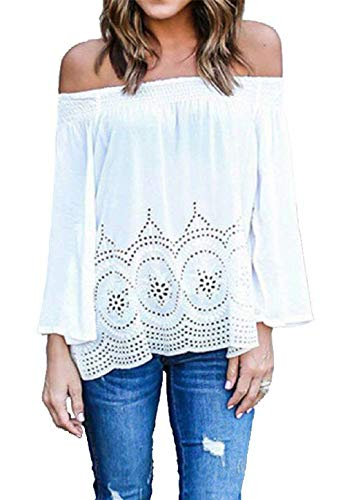 Smocked Floral Cocktail - Hotouch White Blouse Top Off Shoulder for Women Casual Top Shirt(White XL)