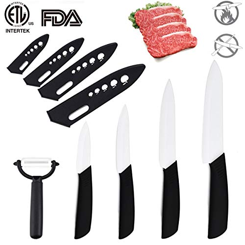 Ceramic Knives Kitchen 6″ Chef's, 5″ Santoku, 4″ Utility, 3″ Paring, Set+peeler Cook Set Zirconia Blade Fruit Vegetable Chef Knife Meat Fish Black Handle White Blades