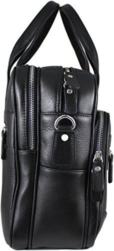 Zavelio Hombres de Anton lujo cuero auténtico Negocio Maletín Bolso Bandolera negro negro talla única negro