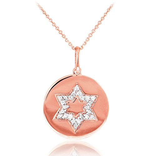 David Diamond Disc Pendant (Ladies 14k Rose Gold Diamond Jewish Star of David Disc Necklace (22 Inches))