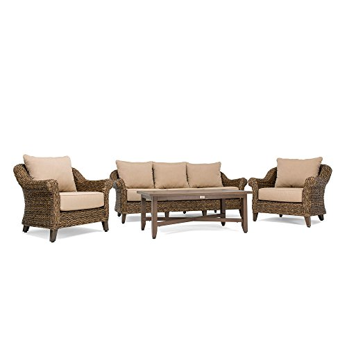 Blue Oak Outdoor Bahamas 4PC Patio Furniture Conversation Set (Sofa, Coffee Table, 2 Lounge Chairs)  with Sunbrella Canvas Heather Beige Cushions