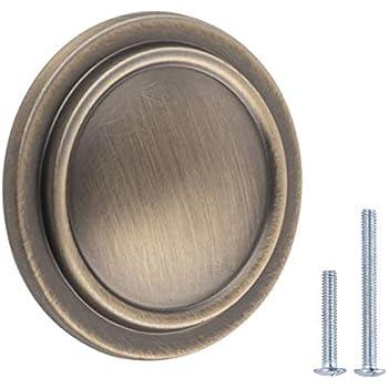 10 Pack Antique Brass GlideRite Hardware 80110-AB-10 Round Deco Cabinet Knob 1.1875