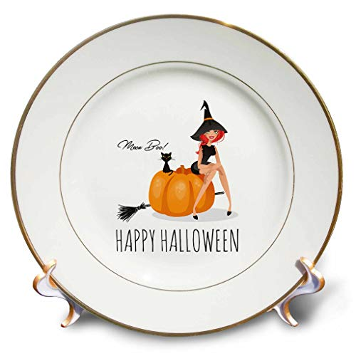 3dRose Alexis Design - Holidays Halloween - Pretty Witch Sits on a Pumpkin. Black cat. Happy Halloween, Meow, Boo - 8 inch Porcelain Plate (cp_299467_1)