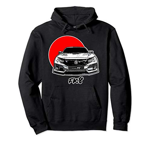 - FK8 JDM Hoodie Civic R Type Tuner Auto Enthusiasts Red Sun