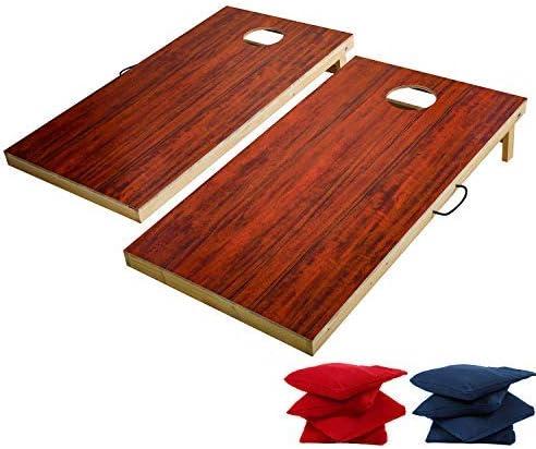 Tiannbuソリッド木製Cornhole SetポータブルBeanバッグToss Gameフルサイズ、耐久性プリントサーフェスとUnderneathインドア、アウトドア