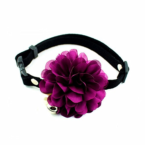 Beautiful Retro Design Faux Pearl Black Leather Pet Necklace Purple Flower Collar Choker for Cat & Small Dog Lolita Maid Cosplay Party Accessory -