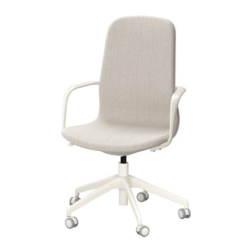 Ikea 41'' Swivel chair with casters & Armrest, Gunnared beige seat, white legs 38386.232611.412 by IKEA